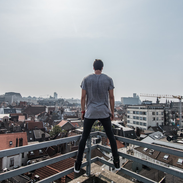 """""""Looking over the city - Brussels."""" stock image"""