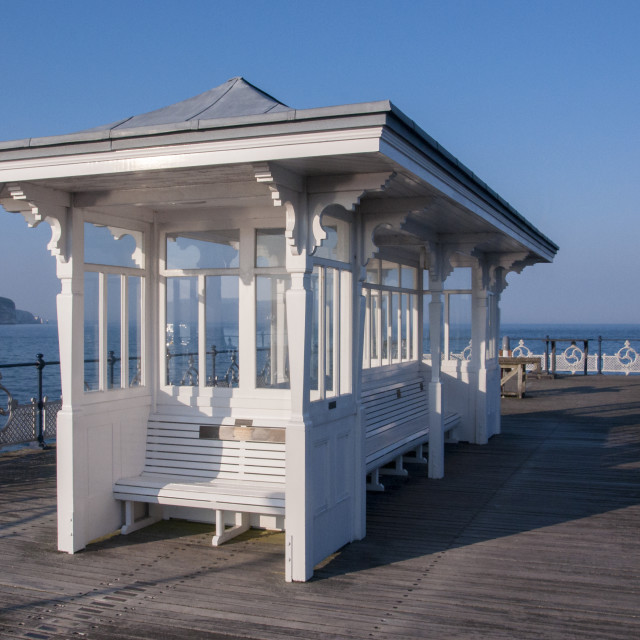 """Shelter at the end of Swanage Pier"" stock image"