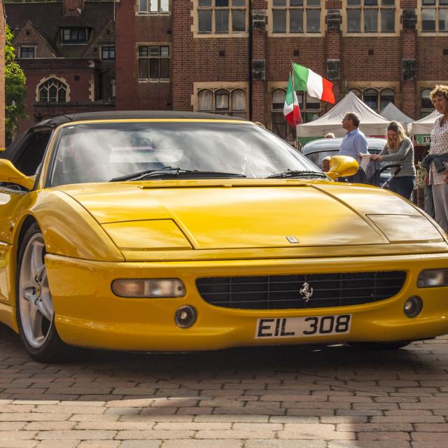 """""""Yellow Ferrari 355"""" stock image"""