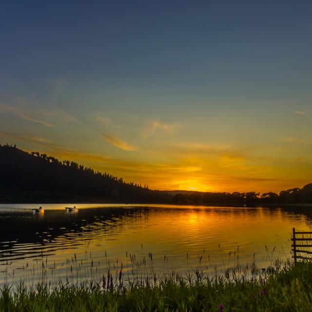"""Sunset over Bassenthwaite Lake"" stock image"
