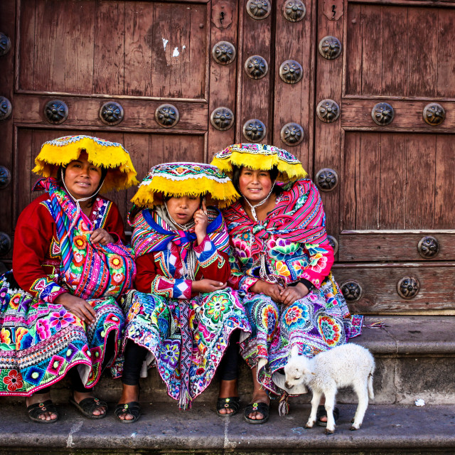 """Traditional vs modern life in Cuzco"" stock image"