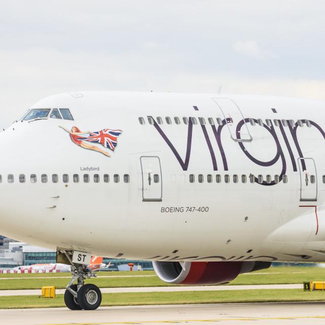 """Virgin Atlantic Boeing 747-400 aeroplane"" stock image"