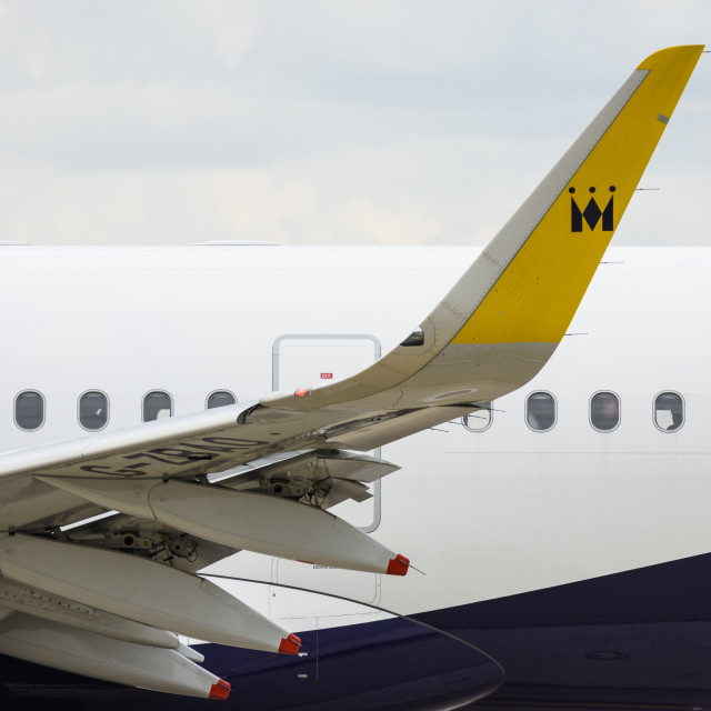 """""""Winglet of a Monarch Airbus A321-200 aeroplane"""" stock image"""