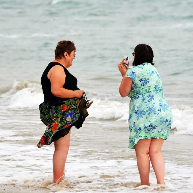 """Selfie in the sea"" stock image"