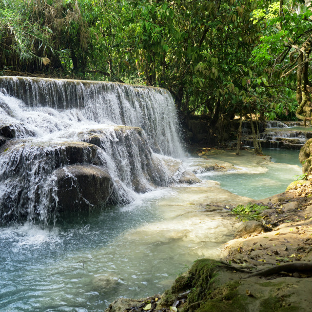 """Forest Waterfall River, Khoung Si Falls, Laos"" stock image"