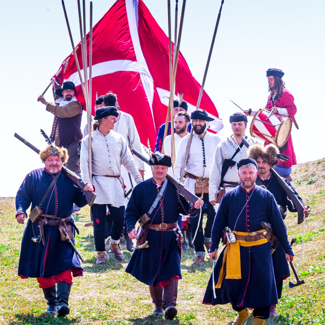 """""""reconstruction of the Battle"""" stock image"""