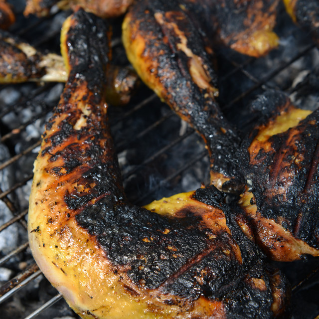 """""""Chicken cooking on Barbecue grill, close-up"""" stock image"""