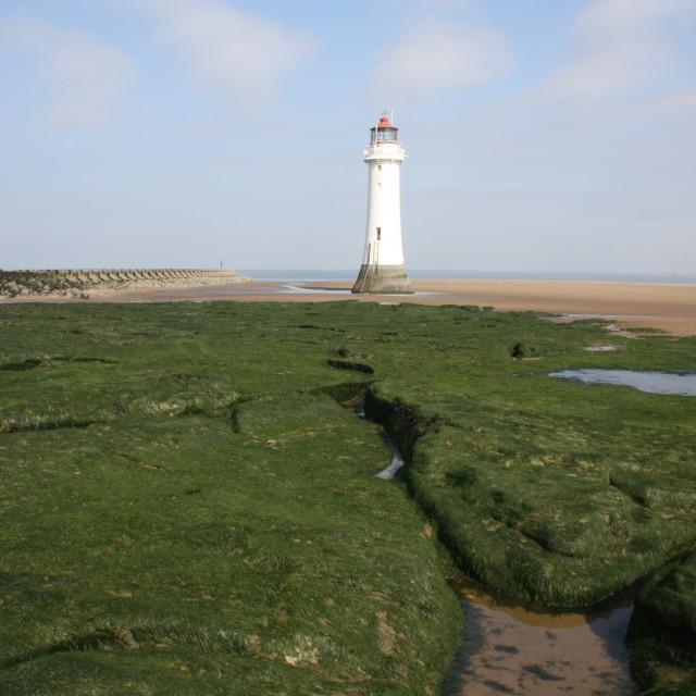 """lighthouse near Liverpool"" stock image"