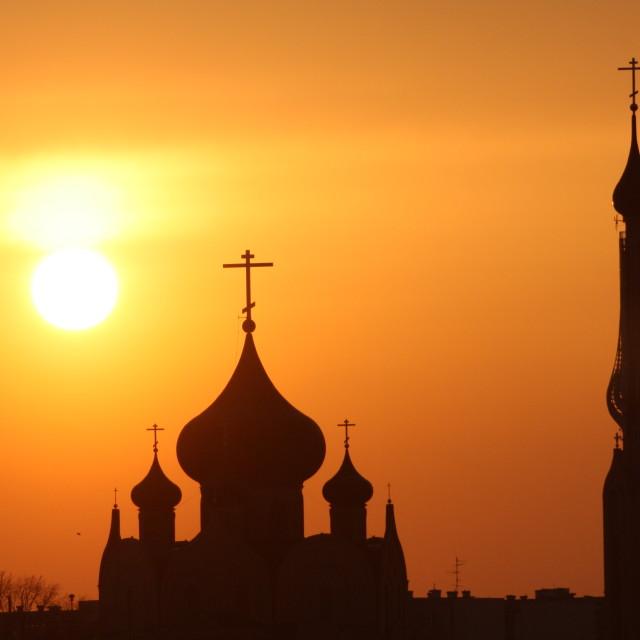"""Sunset Church in Bialystok"" stock image"