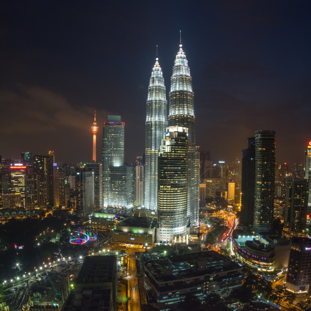 """Kuala Lumpur Twin Towers at Night"" stock image"