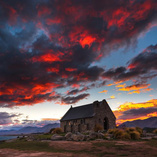 """""""Sunrise at Church of the Good Shepherd, Lake Tekapo, New Zealand"""" stock image"""