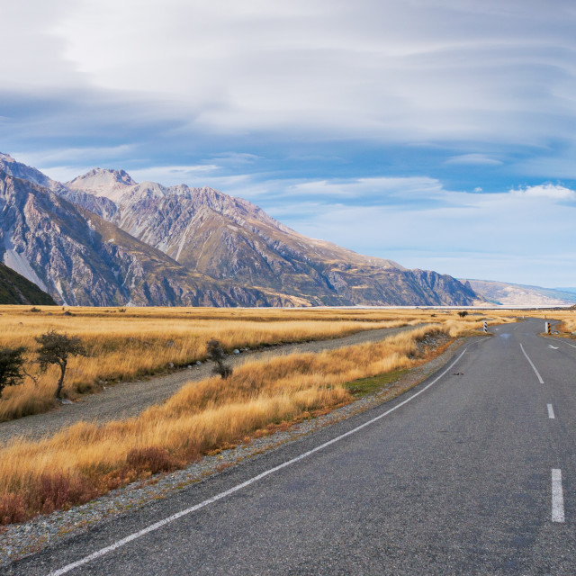 """""""Panoramic view of long road to Mount Cook, New Zealand."""" stock image"""