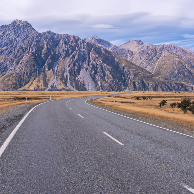 """Panoramic view of long road to Mount Cook, New Zealand."" stock image"