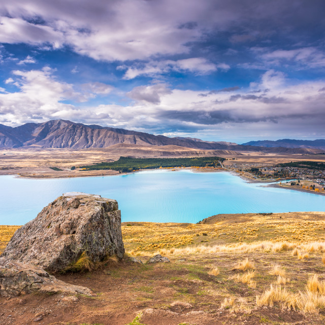 """""""High Angle view of Lake Tekapo, New Zealand at daylight."""" stock image"""