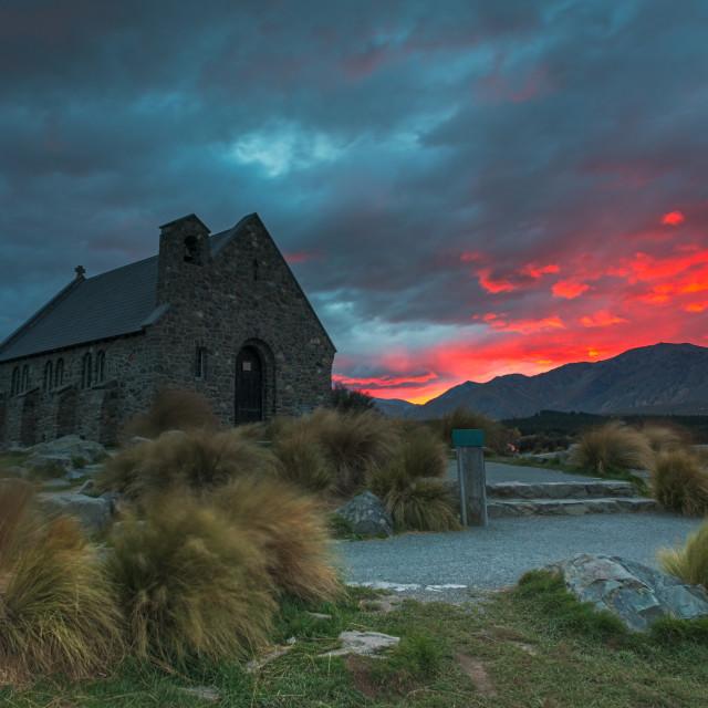 """Red Sunrise at Church of the Good Shepherd, Lake Tekapo, New Zealand"" stock image"