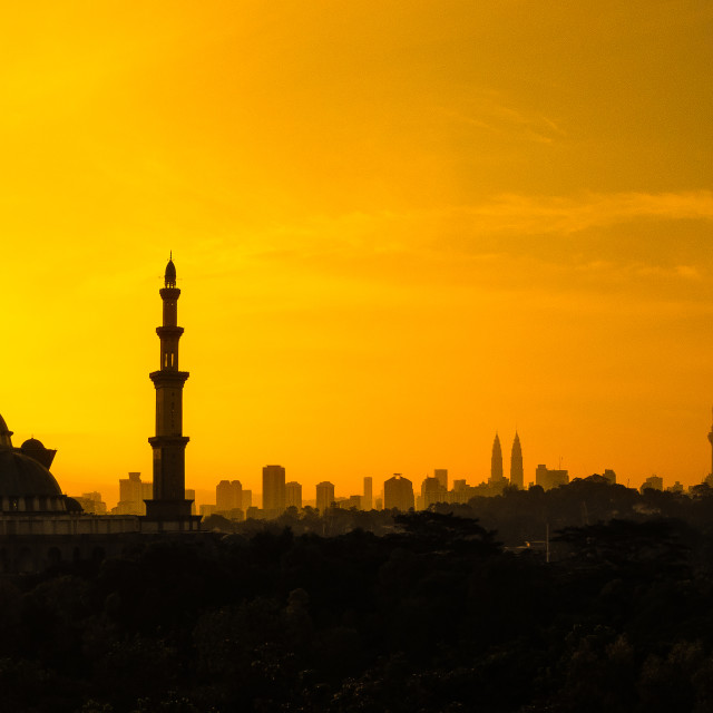 """Golden Sunrise over the City of Kuala Lumpur"" stock image"