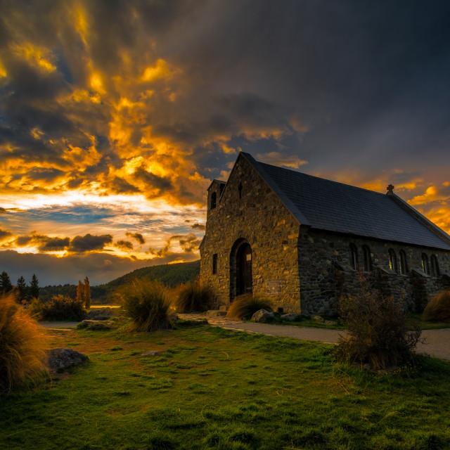 """Golden Sunset at Church of Good Shepherd"" stock image"