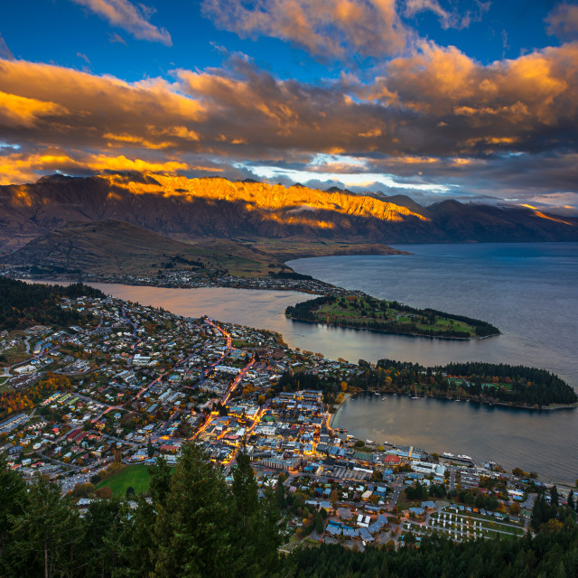 """Sunset at Queenstown and the Remarkables"" stock image"
