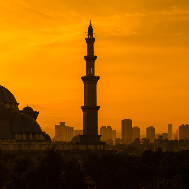 """Mosque and Petronas Towers Silhouettes"" stock image"