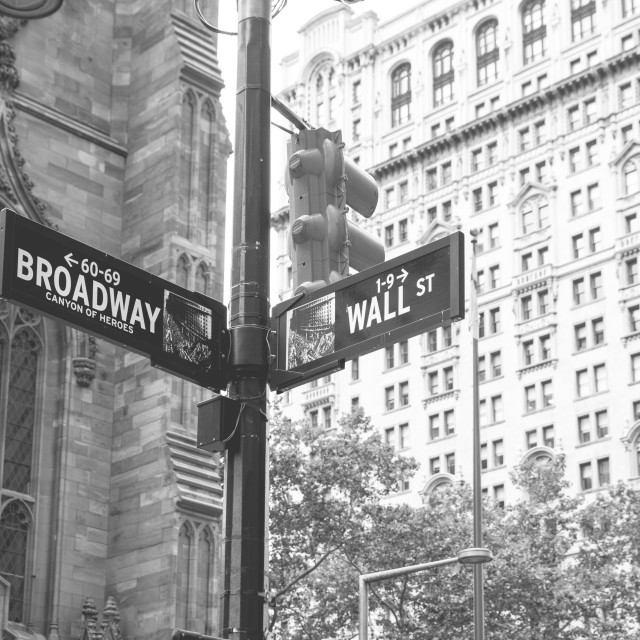 """Broadway & Wall Street"" stock image"