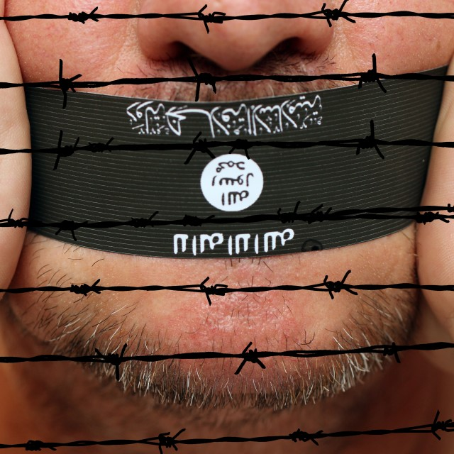 """Islamic state censorship"" stock image"