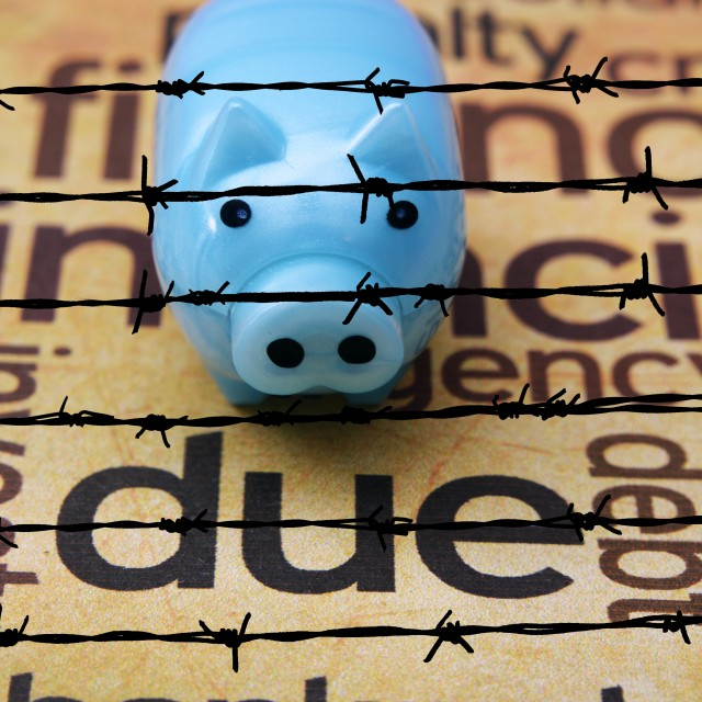 """Piggy bank and due concept"" stock image"