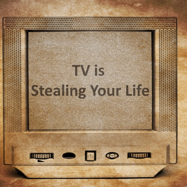 """TV is stealing your life"" stock image"