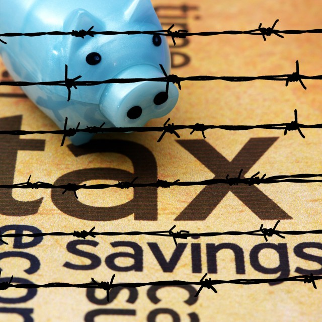 """Piggy bank and tax concept"" stock image"