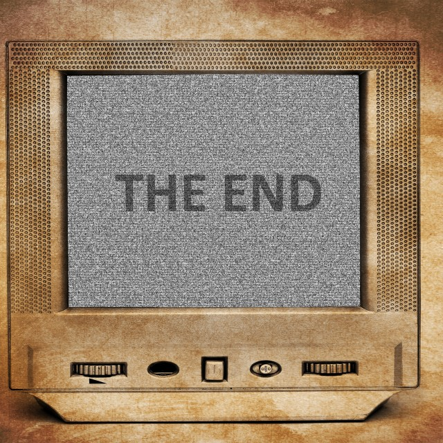 """The end on tv screen"" stock image"