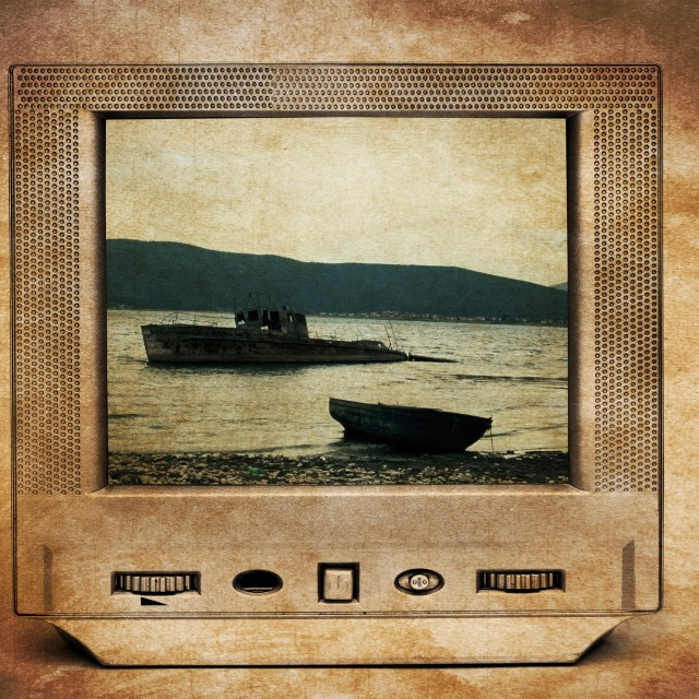 """Old rusty abandoned ruined boat on TV"" stock image"