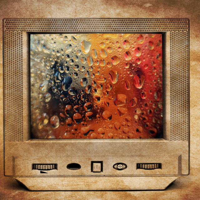 """Rain drops on TV"" stock image"