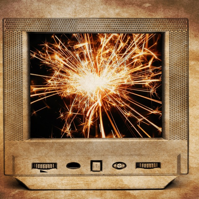 """Sparks on TV"" stock image"