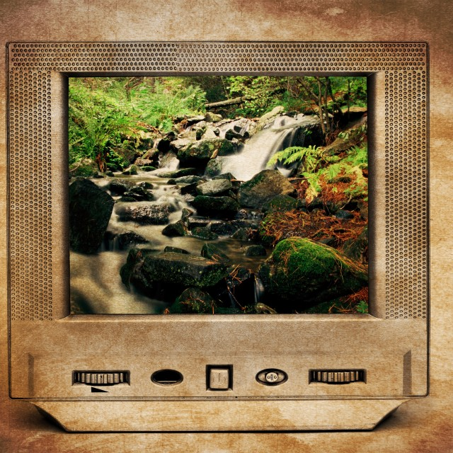 """Deep forest river on tv"" stock image"