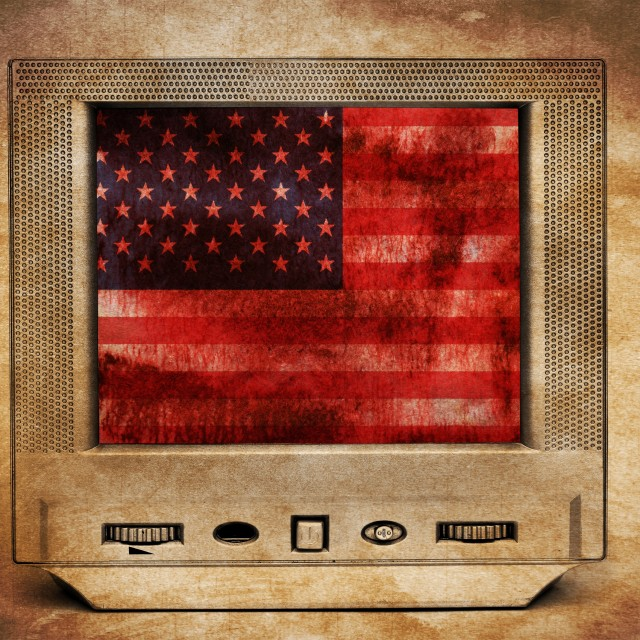 """Grunge USA flag on TV"" stock image"