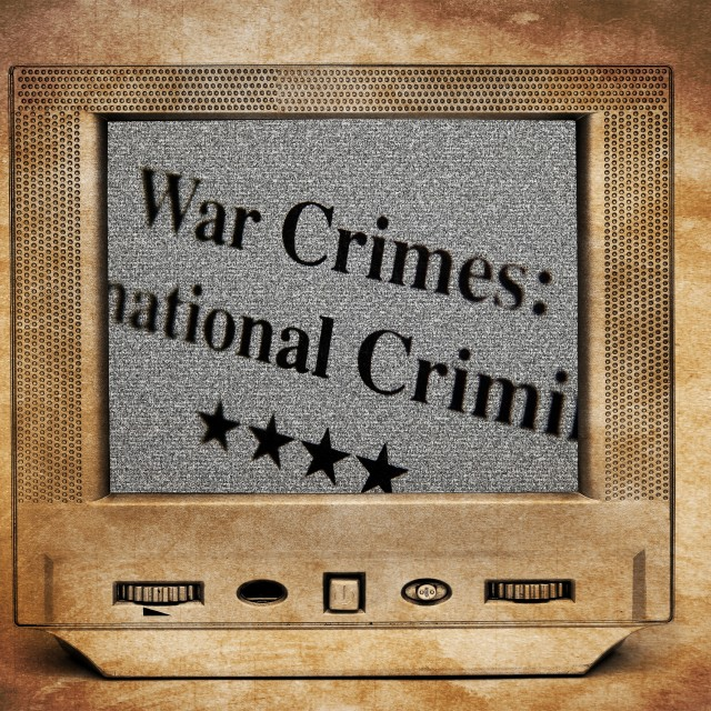 """War crimes on TV screen"" stock image"