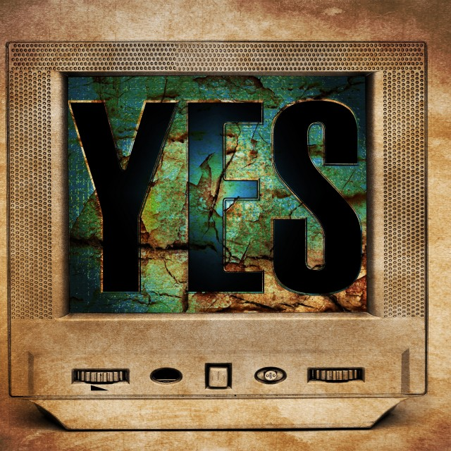 """Yes sign on vintage TV"" stock image"