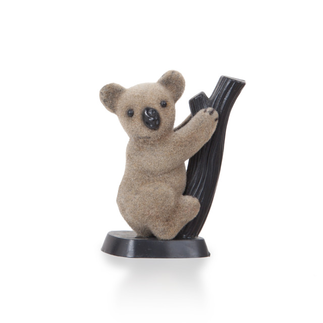 """Koala figurine on a branch"" stock image"