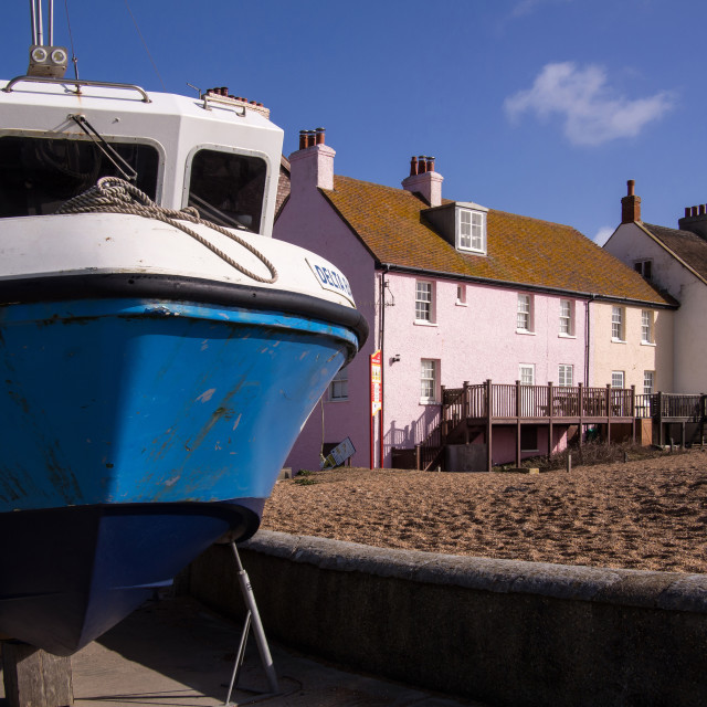 """""""Boat and Cottages - West Bay"""" stock image"""