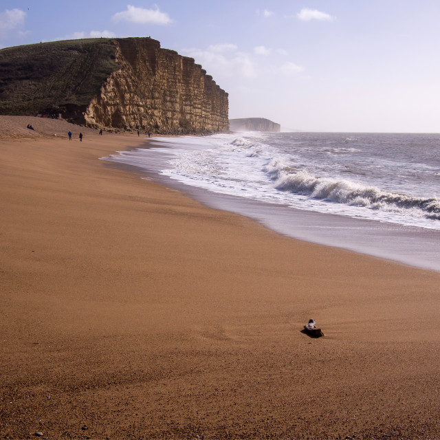 """Cliffs at West Bay"" stock image"