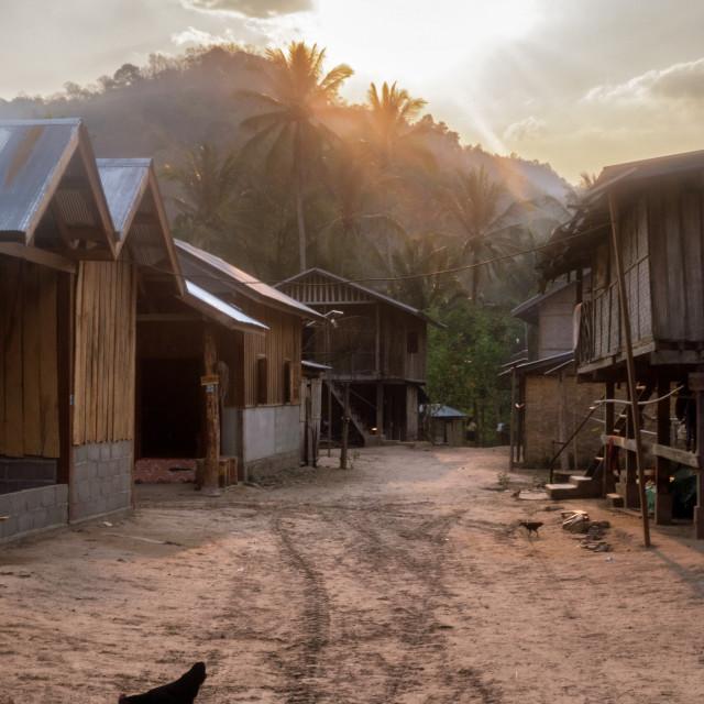 """""""Rural Riverside Village on Mekong River, Laos"""" stock image"""
