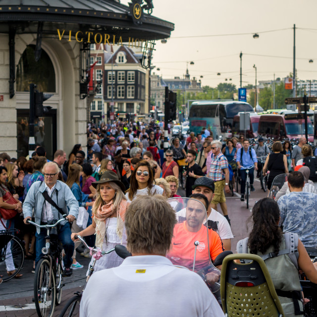 """Amsterdam bicycle traffic"" stock image"
