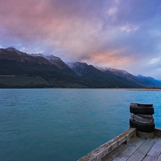 """""""Morning at a jetty at Lake Wakatipu"""" stock image"""