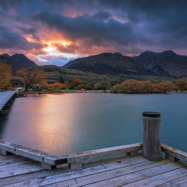 """Sunrise at Glenorchy Jetty, New Zealand"" stock image"