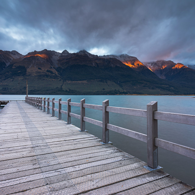 """Wooden Jetty at Lake Wakatipu"" stock image"