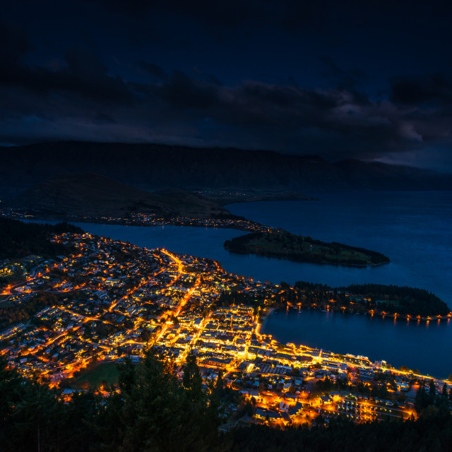 """Queenstown at Night."" stock image"