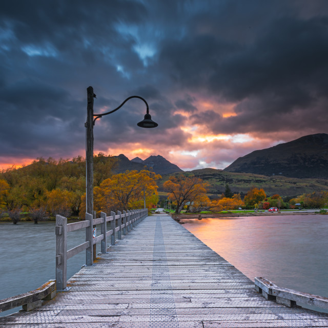 """Sunrise at Glenorchy jetty"" stock image"