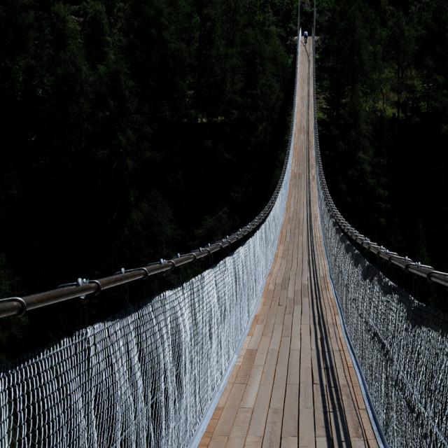 """""""Pedestrian Suspension Bridge"""" stock image"""