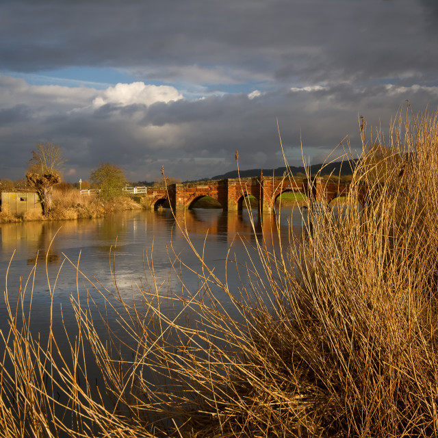 """Storms over Eckington Bridge"" stock image"