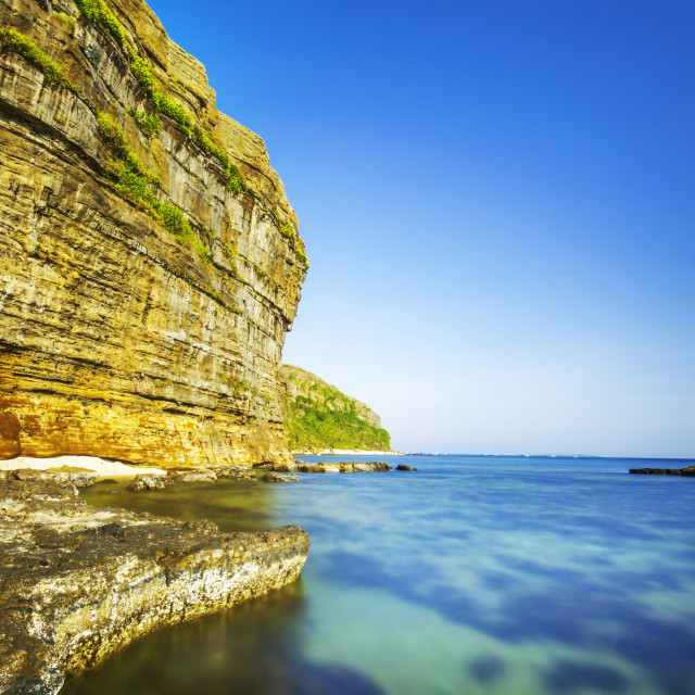 """""""Sunshine on cliff and sea in Ly Son Island"""" stock image"""