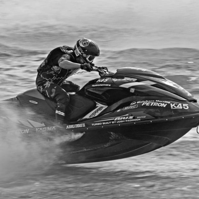 """""""Racing Jet Ski at Speed"""" stock image"""
